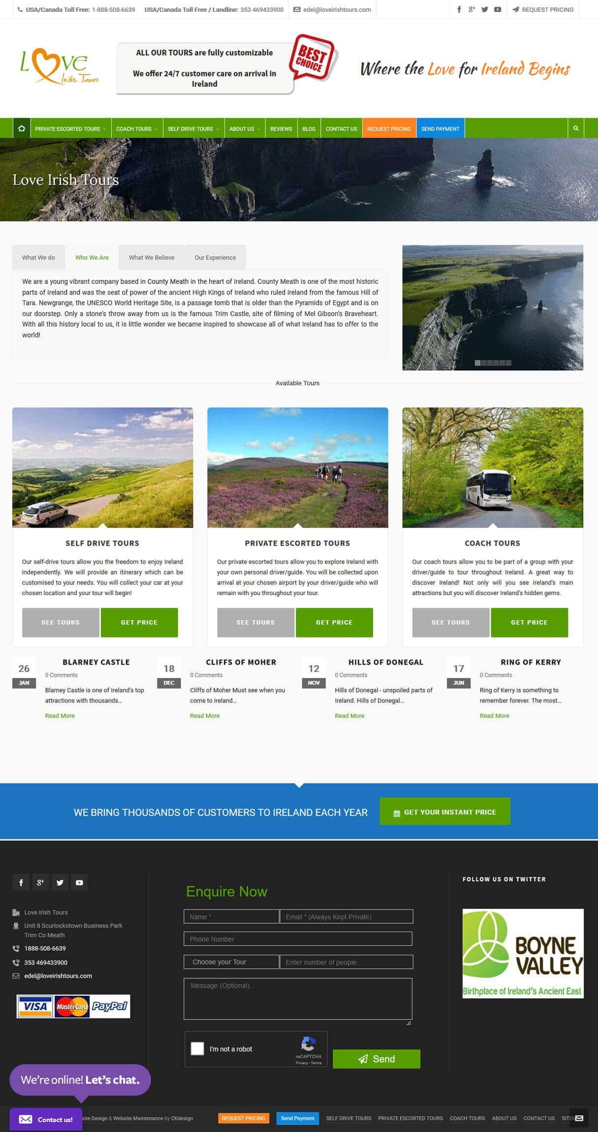 Loveirishtours full website screen shot