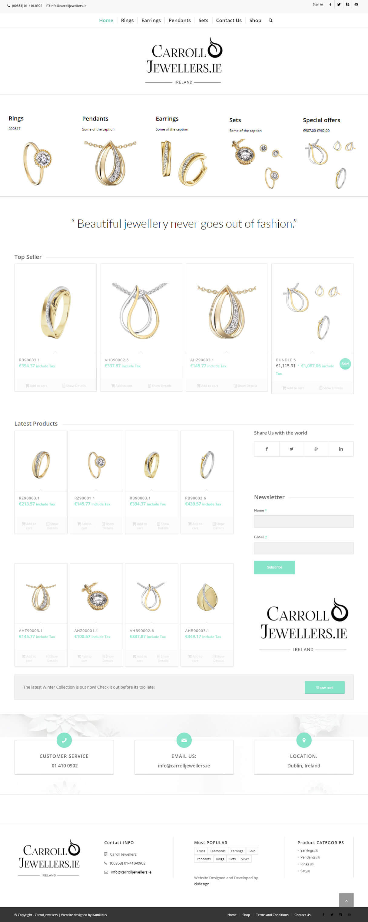 carroll Jewellers website screenshot