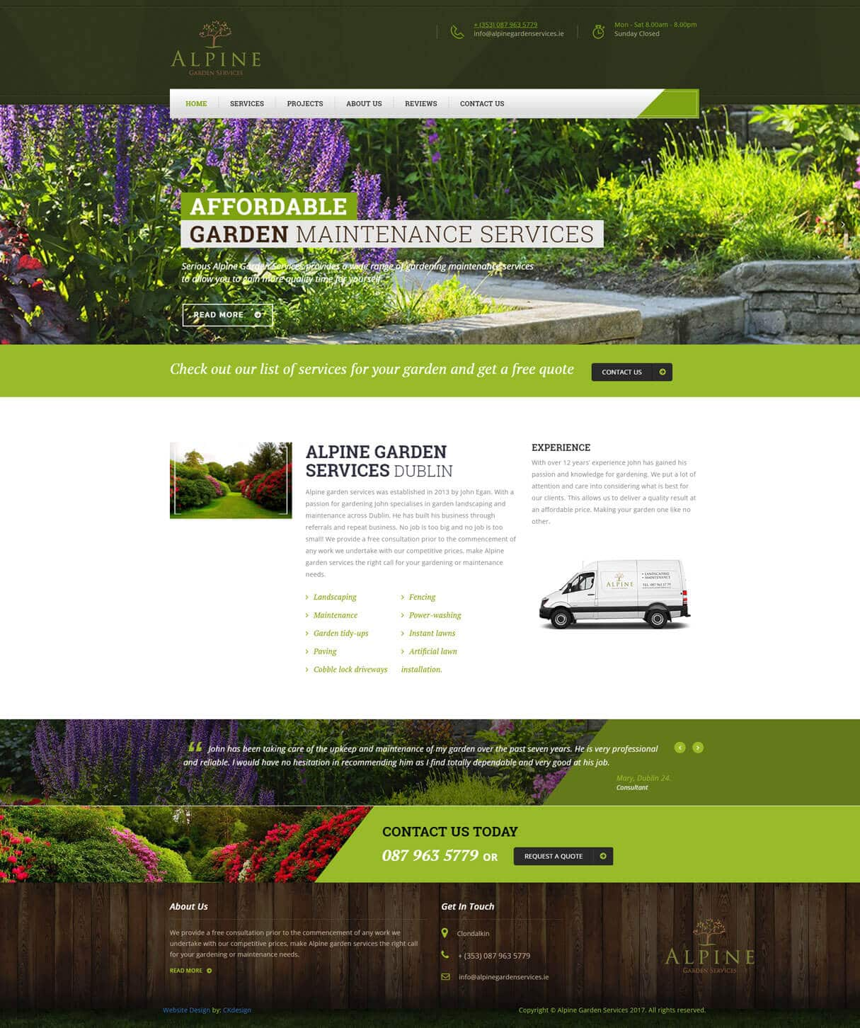 alpine garden services website screenshot