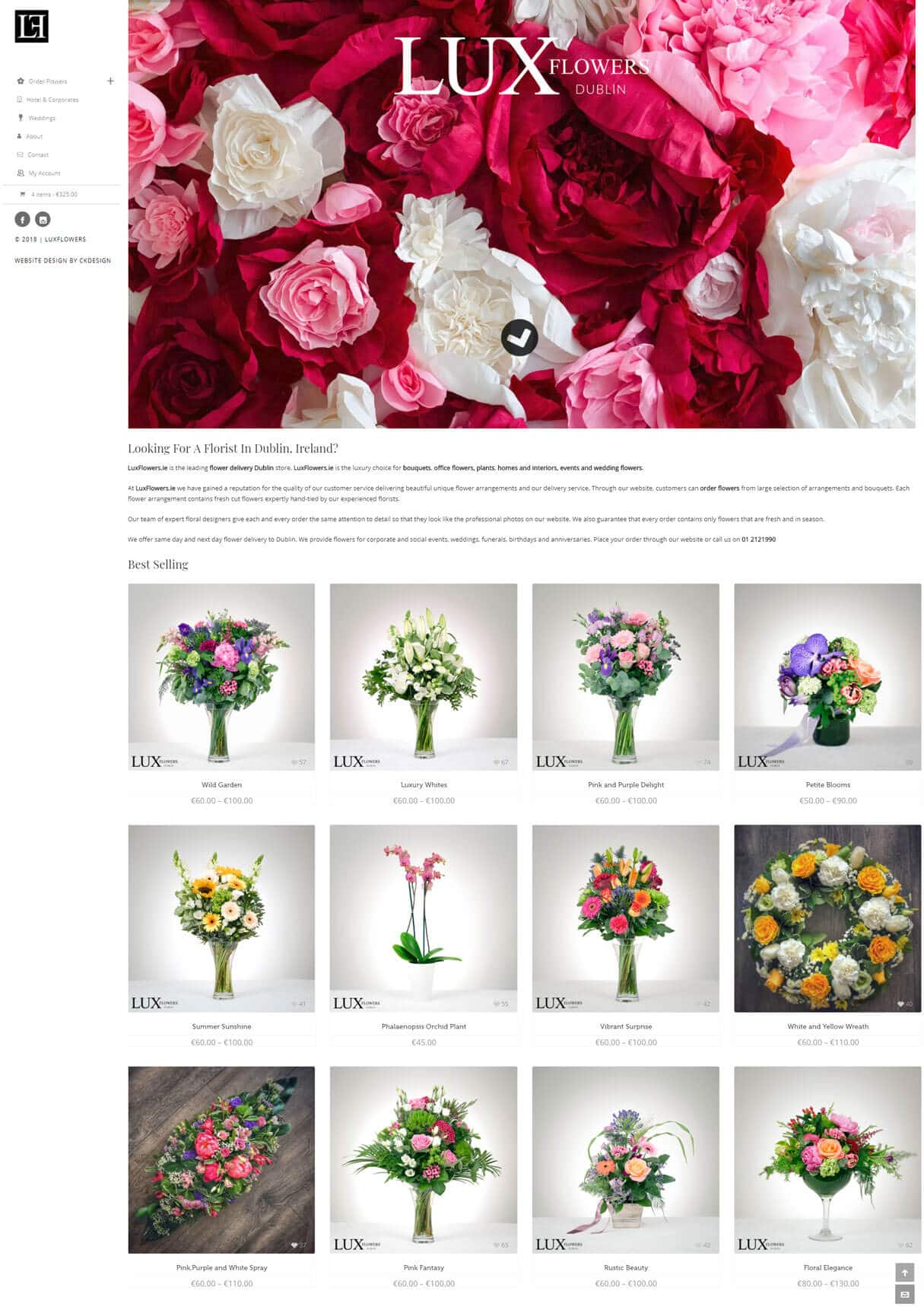 luxflowers website screenshot