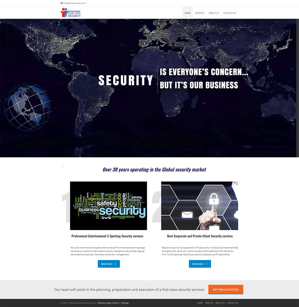 security website design responsesec website screenshot