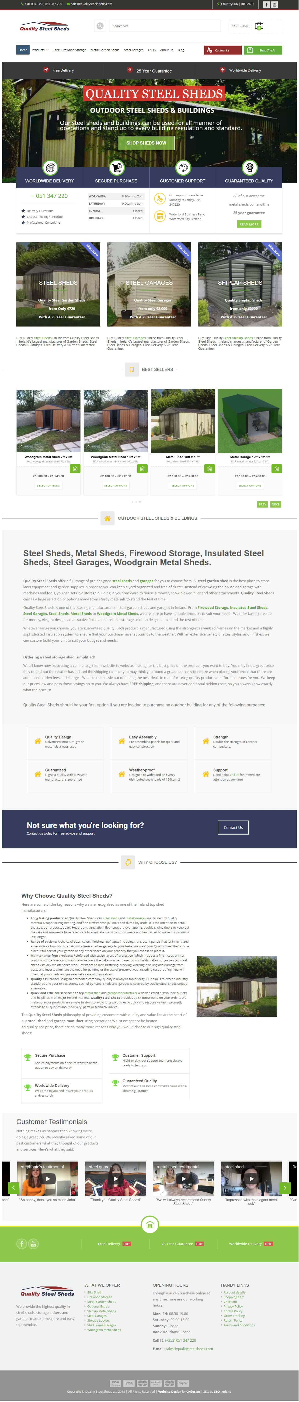 quality steel sheds website screenshot
