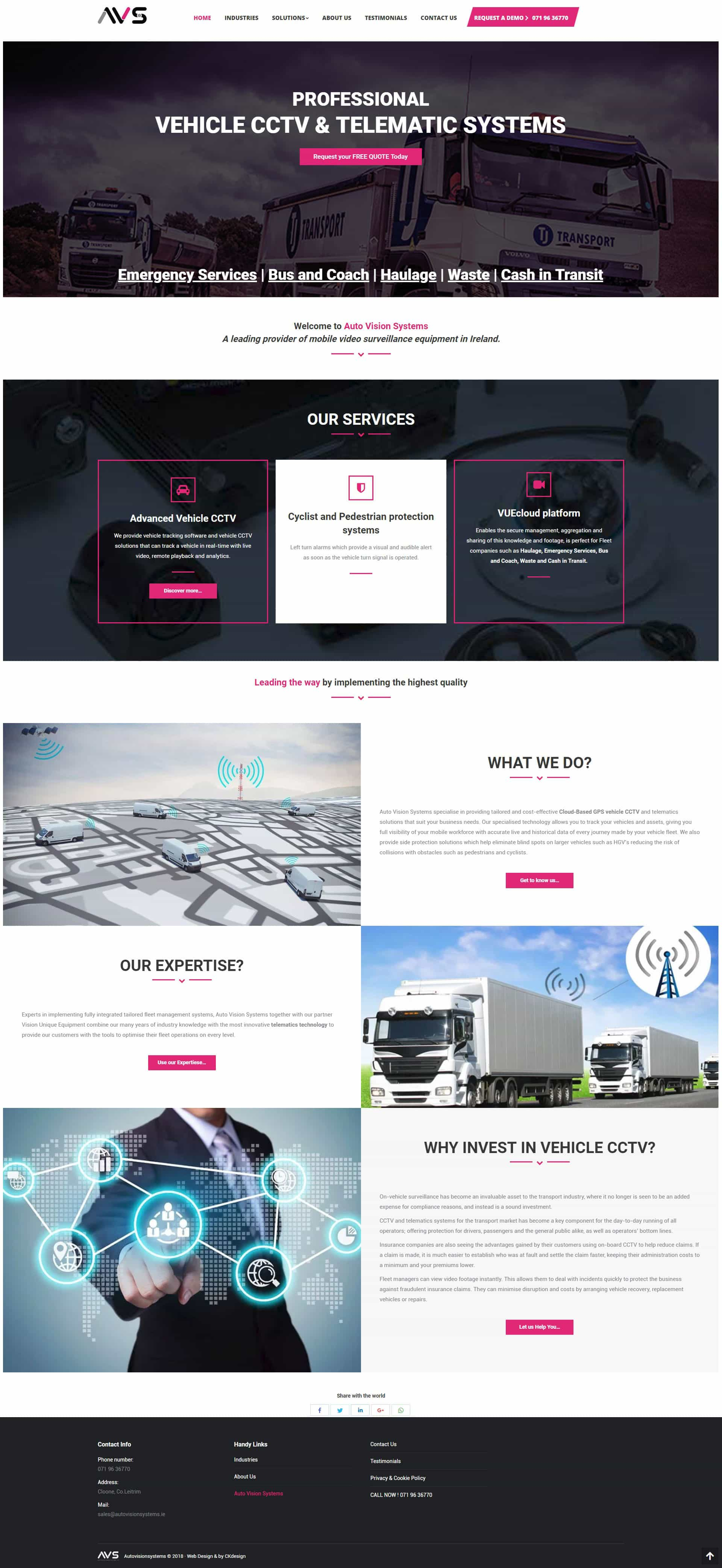 website design dublin projects of Auto Vision Systems Dublin