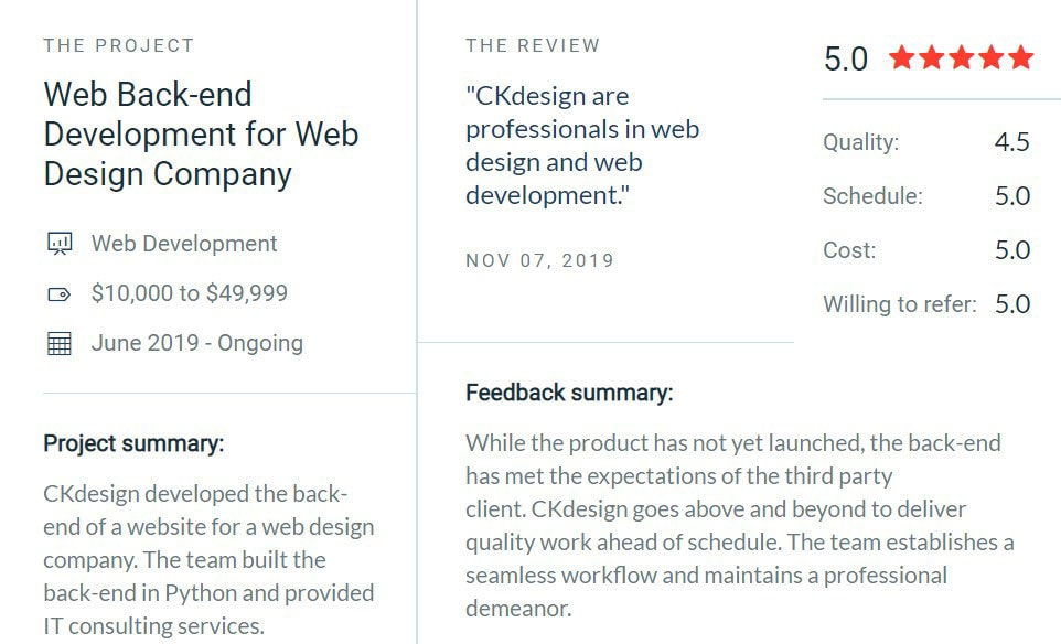 clutch five star review about ck web design ireland