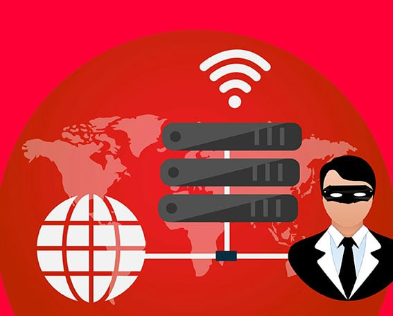 website security image with the spy in the black mask and server with the wifi