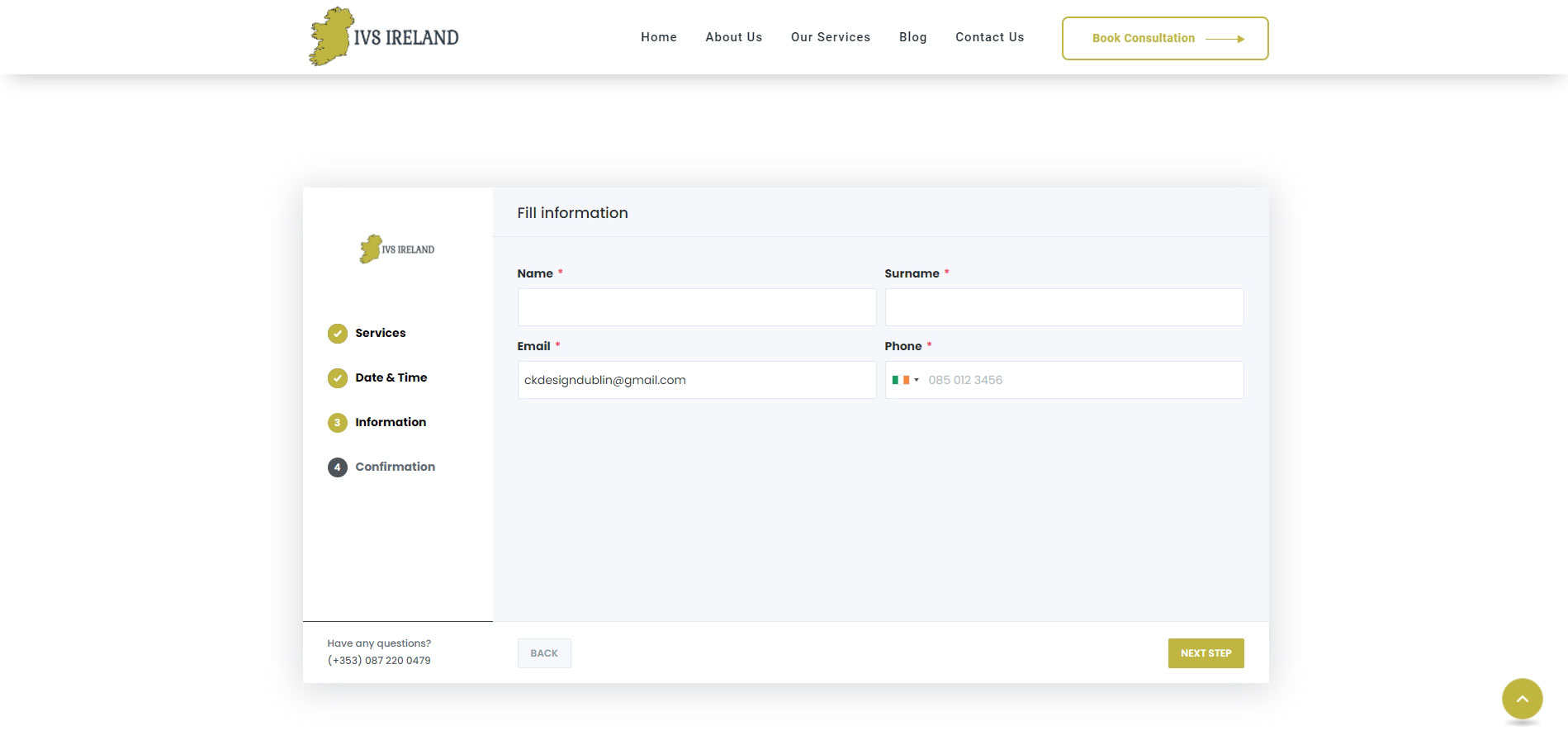 ivs ireland by ck website design - full screen shot of the ivs ireland Booking System step 2