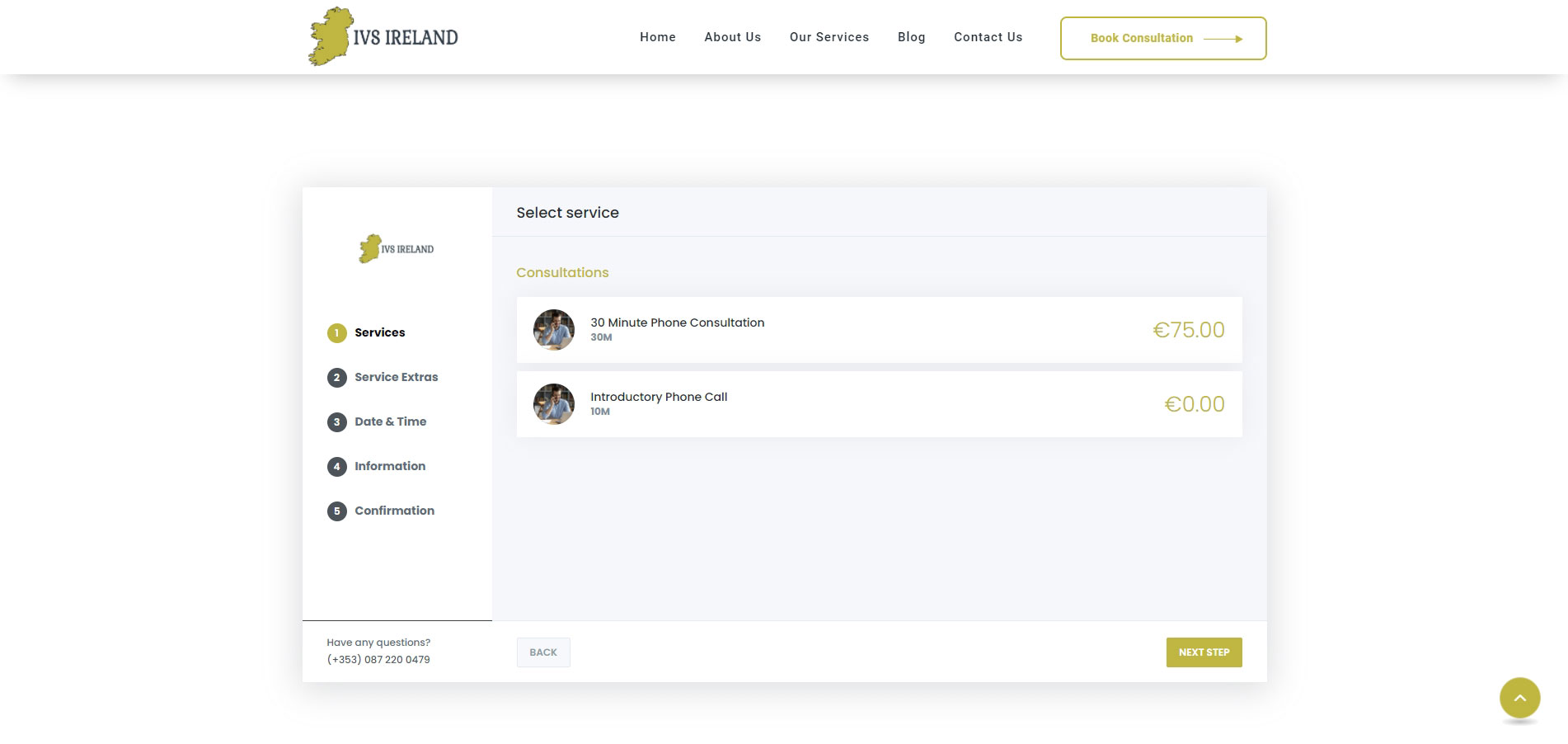 ivs ireland by ck website design - full screen shot of the ivs ireland Booking System