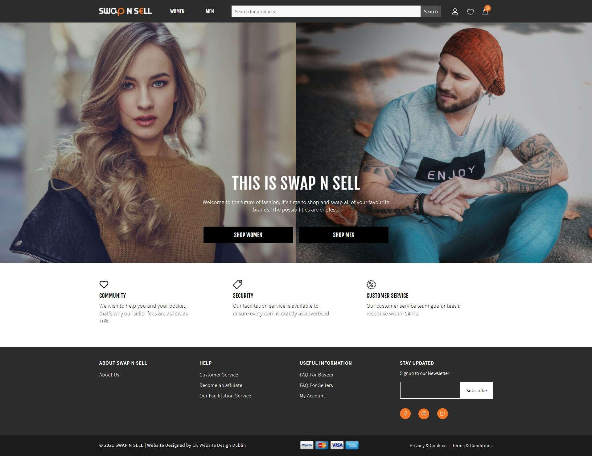 swap n sell home page design my ck website design dublin ireland