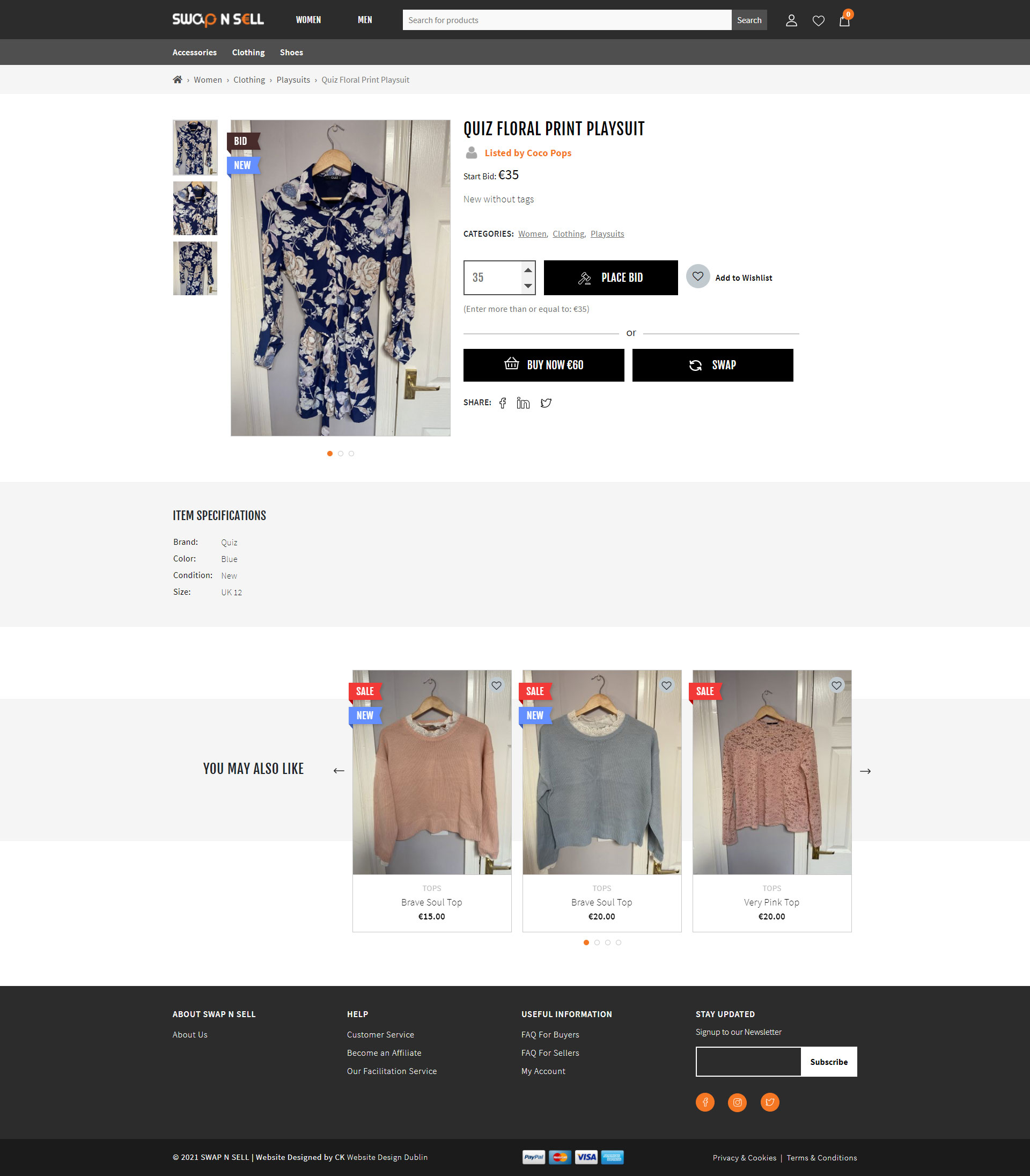 Swap n sell product page design by ck website design Dublin Ireland